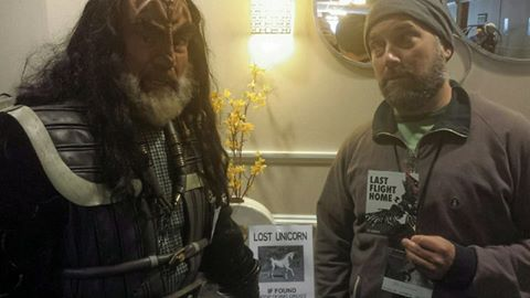 Author J.B. Lawrence (right) met K'Tang the Klingon and other potential readers at RavenCon.